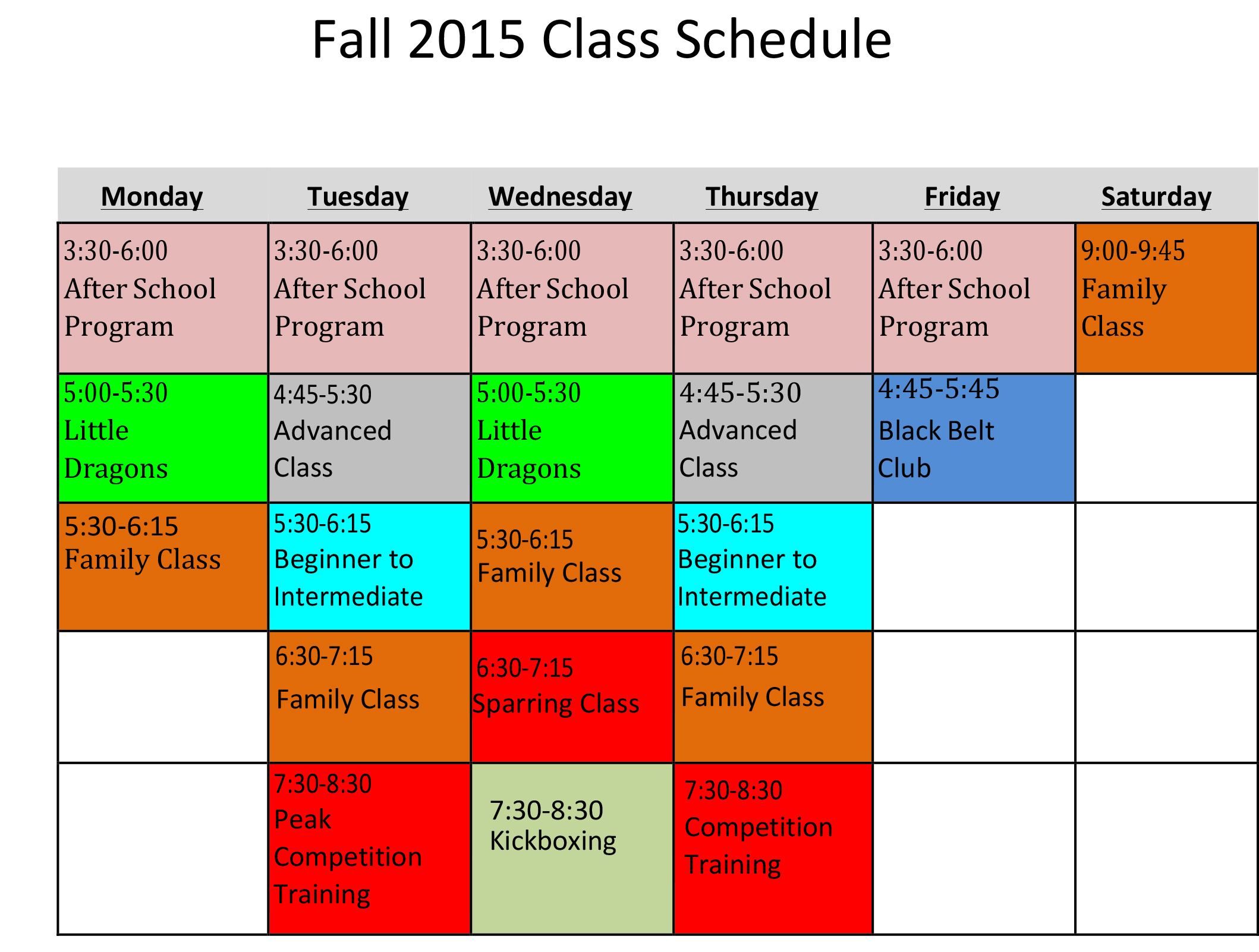 Fall Rogers Schedule